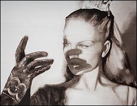 María Dávila. Masque, 2015. Óleo sobre tabla, 146 x 97 cm.
