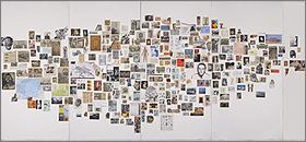 RICARDO CADENAS. Nube de imágenes, 2003. 245,5 x 520 cm. Composición a base de obra sobre papel