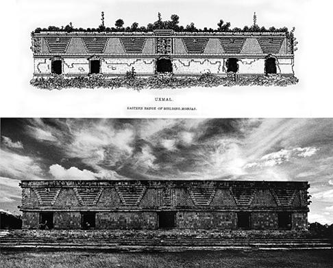 LEANDRO KATZ. 1993/2012. Casa de las Monjas y Casa del Adivino, Uxmal a la manera de CatherwoodFotografía en blanco y negro. Impresión digital. 40,5 x 50,8 cm.