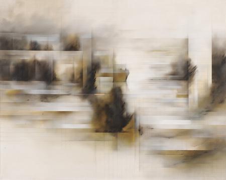 FERNANDO ZÓBEL. El Jucar XII, 1971. Óleo y lápiz sobre lienzo. 192,5 x 243 x 4 cm.