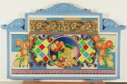 ALFREDO ALCAÍN. Tres bodegones circulares con accesorios, 1969. 61,5 x 100,5 X 5,5 cm. Óleo sobre lienzo