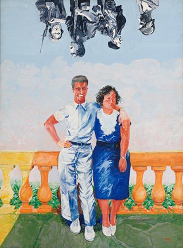 FRANCESC ARTIGAU. Retrato de los padres, 1972. 130,5 x 97,5 X 2,1 cm. Acrílico sobre tela