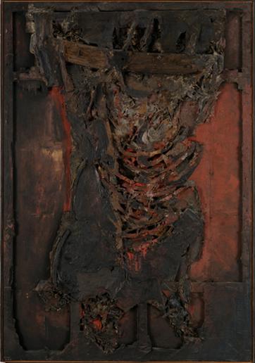LUCIO MUÑOZ. La vaca, 1964. 236 x 165 cm. Técnica mixta sobre madera