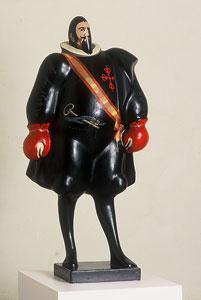 EQUIPO CRÓNICA. Conde duque de Olivares, 1971. Nº Edición 21/25. 102,5 x 48,5 x 38,5 cm. Pintura sintética sobre cartón y madera