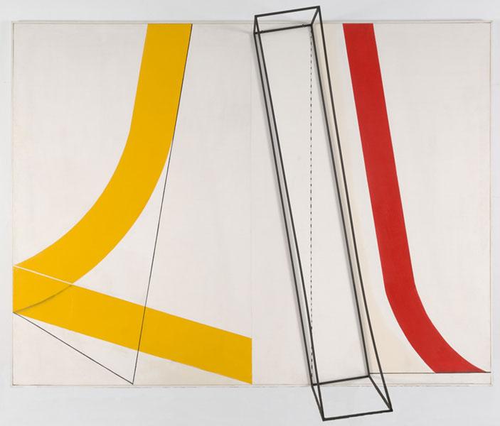 PEDRO GARCÍA RAMOS. Prisma y curva, 1976. 191,5 x 255,5 cm. Acrílico y estructura metálica sobre lienzo