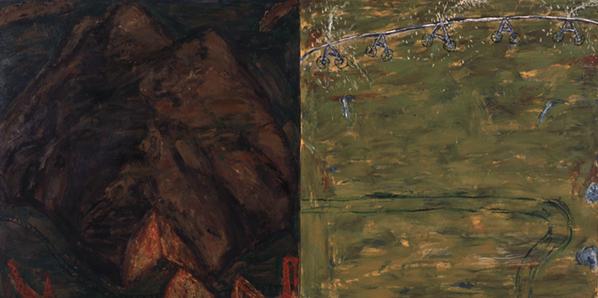 CURRO GONZÁLEZ. Camino equivocado, 1985. Óleo sobre tela. 130 x 260 x 5 cm