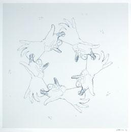 BRUCE NAUMAN. Sin título (de dedos y agujeros), 1994. 88 X 89 cm. Obra gráfica con variaciones de color en cada estampa