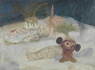 "FRANCISCO PEINADO. Mike Mau histórico (Políptico Mike Mau ""Invasor""), 2007-08. 5 piezas de 66 x 88 x 3,2 cm c/u. Óleo sobre cartón y grafito."