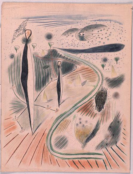 ANTONIO RODRÍGUEZ LUNA. Sin título,1931-35. 65 x 50 cm. Cera, grafito y sanguina sobre papel