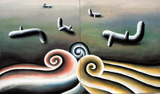 ANDREAS SCHULZE. S/T, 1987. Acrílico sobre muselina. 200 x 340. cm