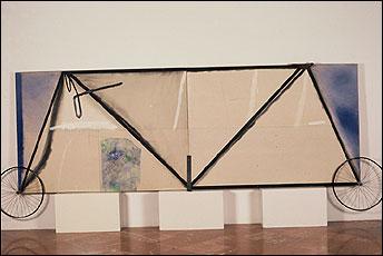 JOSÉ RAMÓN SIERRA. Dibujo artístico nº 1, 1983. 172 x 465 x 17 cm. Pintura acrílica y carbón en tela de algodón sobre madera, cuero y metal