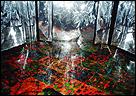 USCO. Strobe Room (Sala estroboscópica). 1967/2012. Luz estroboscópica, tejido mylar, suelo multicolor teñido, música (detalle). Dimensiones variables. Cortesía de Intermedia Foundation