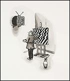 Curro González. Artista víctima del videoarte. 78 x 55 cm. Tinta sobre papel