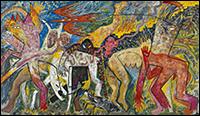 Miquel Barceló. Mapa de carn, 1982. Pigmentos y látex sobre tela. 195 x 345 cm. Propiedad de Colección de Arte Contemporáneo Fundación 'la Caixa'