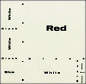 José Luis Castillejo. 'Exposición por correspondencia. Composition wiht Red, Blue and Yellow [cartón Zaj]', 1966. Archivo Lafuente