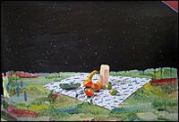 MIKI LEAL. Plato combinado, 2013. Acuarela y acrílico sobre papel, 150 x 220 cm