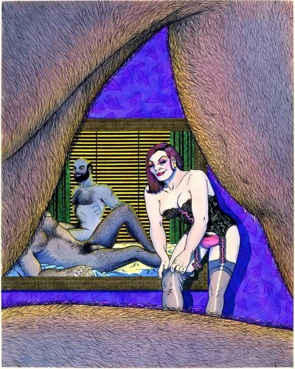 VNazario. Portada del álbum Anarcoma 2, 1987. Lápiz, tinta china y acuarela. 41 x 32,5 cm. Museo Nacional Centro de Arte Reina Sofía, Madrid