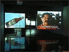 Dario Azzellini & Oliver Ressler, '5 Factories – Worker Control in Venezuela', 6-channel video installation, 2006. Installation view: 'Now-Time Venezuela, Part 1: Worker-Controlled Factories', Berkeley Art Museum, Berkeley, 2006