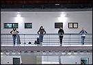 Julie Rivera. Shall we...Dance? ¿Podemos bailar en Cádiz?, 2007. 2 DVD simultáneos / 8' 24'' / Loop Caja de luz explicativa del proyecto. 50 x 50 x 5 cm. Aluminio. Colección del Centro Andaluz de Arte Contemporáneo