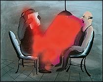 Tala Madani. Red Interrogation, 2012. Óleo y spray sobre lienzo. 40,6 x 51,4 cm