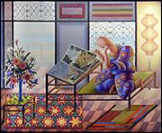 GUILLERMO PÉREZ VILLALTA. Artista viendo un libro de arte, 2008. Temple vinílico sobre lienzo. 108 x 224 cm