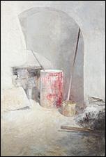 CARMEN LAFFÓN. La Cal. Bidon rojo. 2012. Carbón, témpera y óleo sobre madera 218,5 x 147 cm