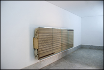 Reinhard Mucha. Bantin, 2003. Glass, enamel painted on reverse of glass, aluminum, cotton fabrics, wood. 153,67 x 407,67 x 44,77 cm