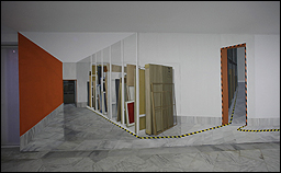 Gloria Martín. Almacén, 2016. Instalación mural. Pintura acrílica sobre pared, óleo sobre lienzo y bastidor de madera. Colección CAAC