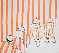 TALA MADANI. Red Stripes with Stain [Rayas rojas con mancha], 2008. Óleo sobre lino, 195 x 210 cm Colección privada