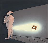 TALA MADANI. Rear Projection: Form [Retroproyección: Forma Óleo sobre lino], 2013 , 45,72 x 50,8 x 3,81 cm. Cortesía de la artista y Galería Pilar Corrias, Londres